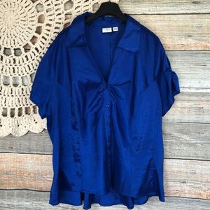 Cato Blue Satin Button Up Blouse 22/24
